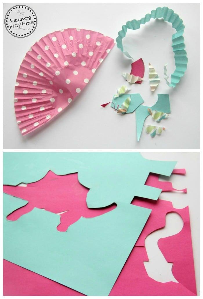 Cupcake liner crafts for kids - Dinosaurs