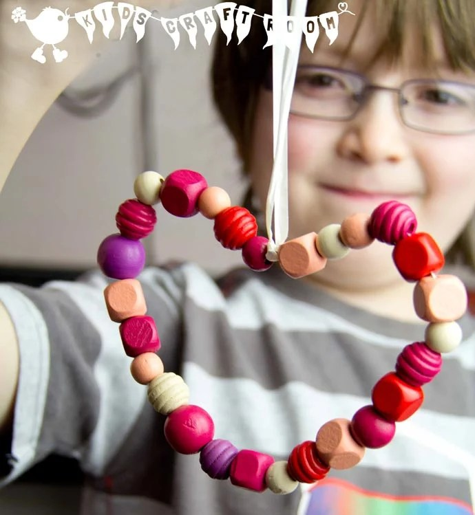 Beaded Heard Mother's Day Gift Idea for kids.