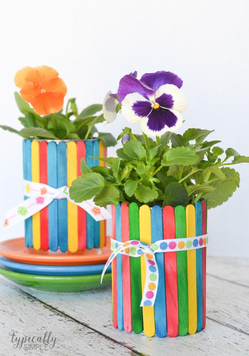 Cute Mother's Day Gift Idea for kids - Craft Sticks Flower Pot