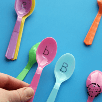 Preschool Alphabet Activity - Spoons Memory Game