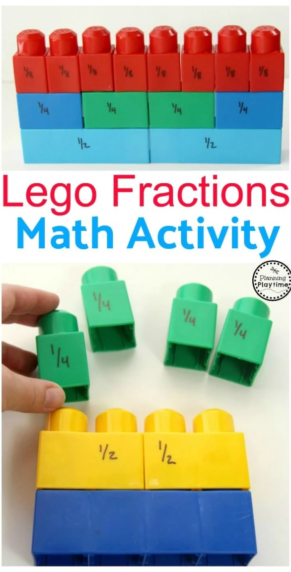 Lego Fractions Math Activity for kids.