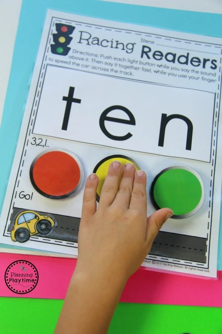 Awesome Kindergarten Reading Practice for Kids - Push the buttons to sound it out. Then race the car to read it fast.