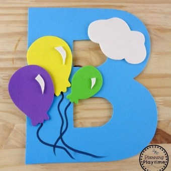 B is for Balloon Letter Craft with free printable template.