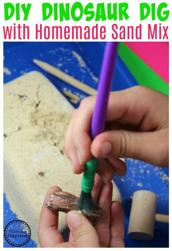 Dinosaur Dig Activity with homemade sand recipe.