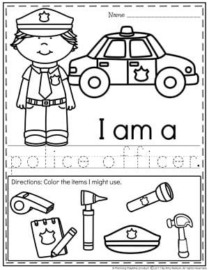 Community Helpers Worksheets - Police Officer