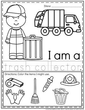Community Helpers Worksheets - trash collector