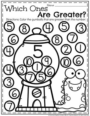 Greater Than Less Than Comparing Number Worksheets for Kindergarten 5