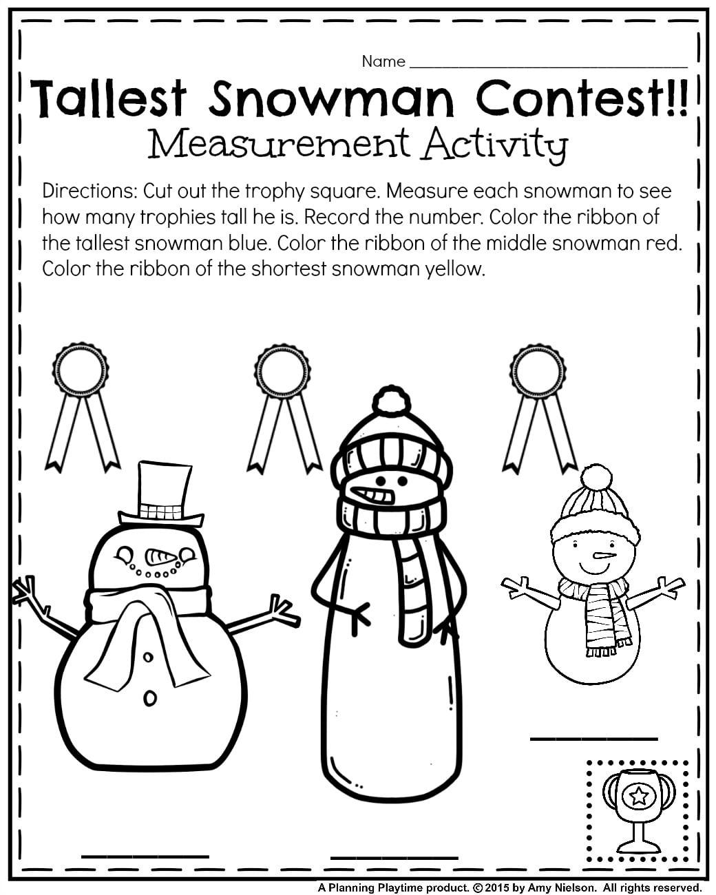 Kindergarten Worksheet Label Snowman