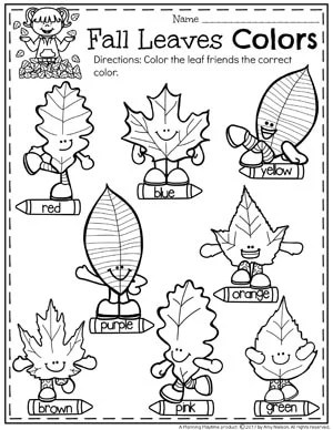 Fall Leaves Colors Worksheets for Preschool and other Fall Preschool Worksheets.