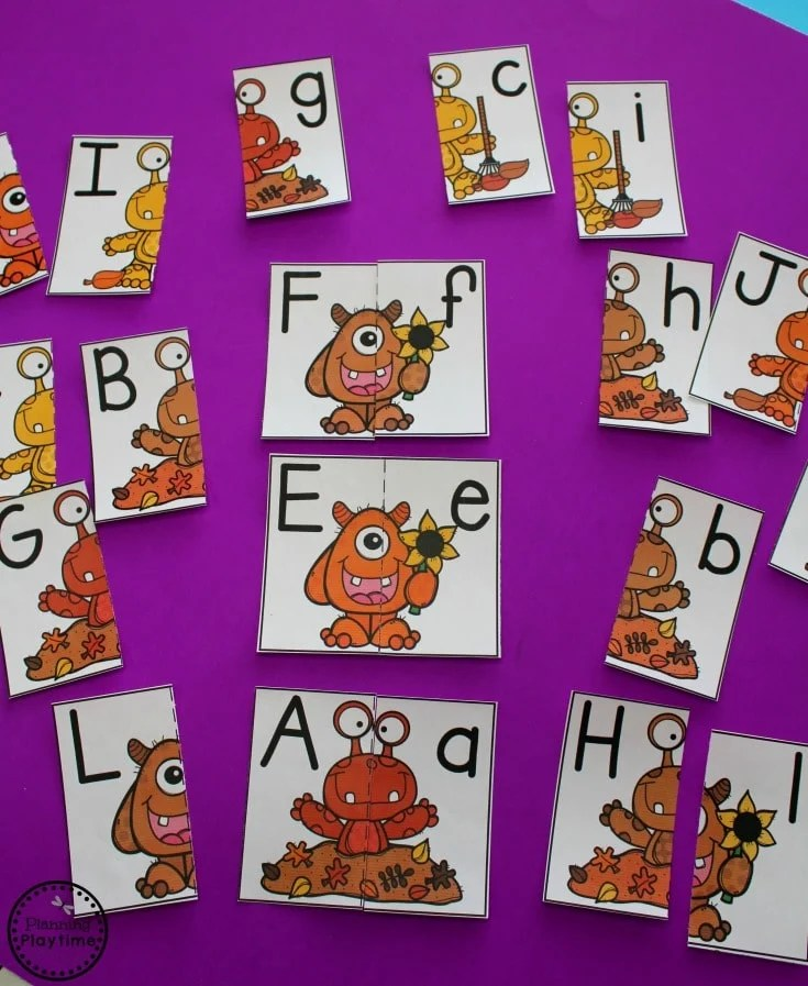 Fall Monster Alphabet Card Puzzles.