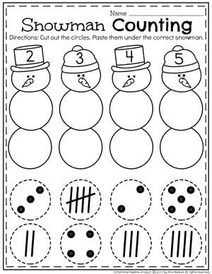 Preschool Subitizing Worksheets - Snowman Counting