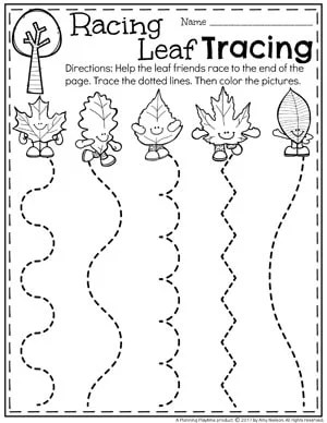 Preschool Tracing Worksheets for Fall - Leaf Racing.