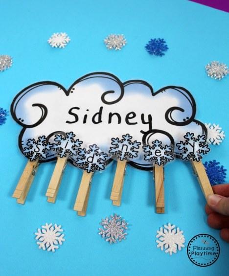 Winter Name Spelling Practice for Preschool