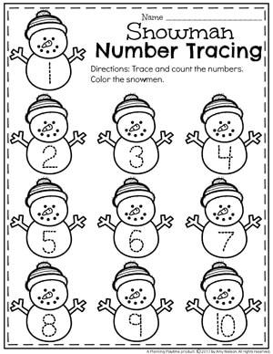 Winter Number Tracing Worksheets for Preschool.