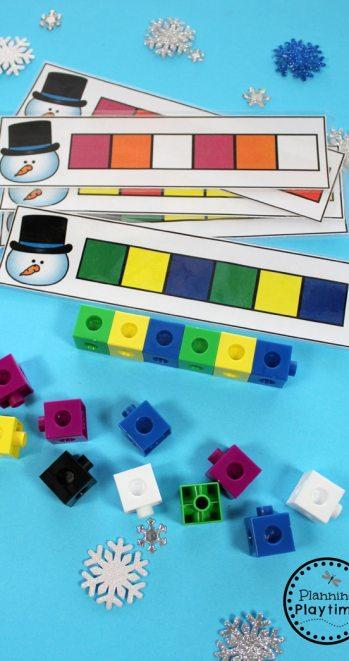 Winter Pattern Cards for Preschool