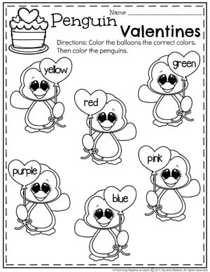 Fun Valentine Worksheets for kids - Balloon Colors #preschool #valentinesday #worksheets