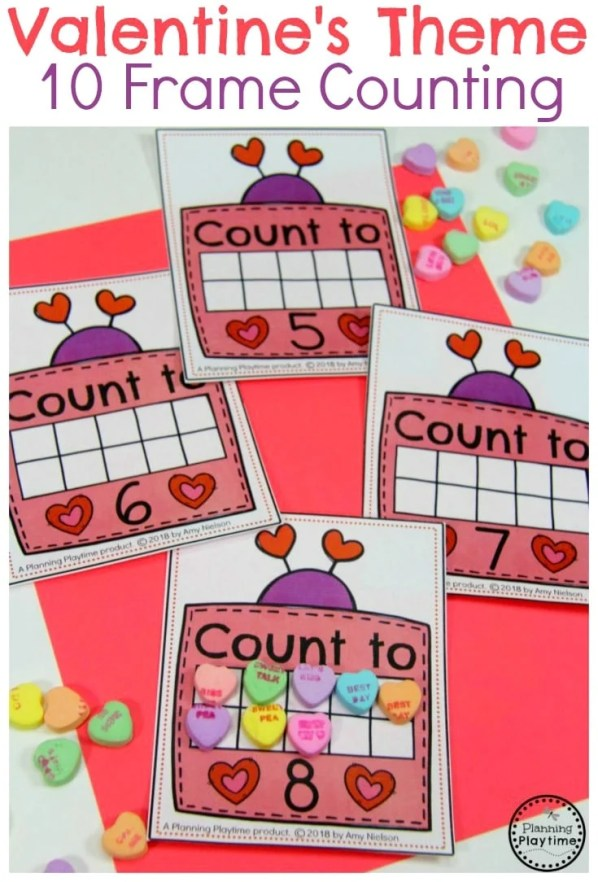 Fun Valentine's Counting Activity for Preschool. So fun! #valentines #preschoolworksheets #preschool