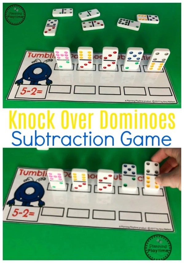 Knock it Down Subtraction Game for Kids. Fun for Kindergarten Math.