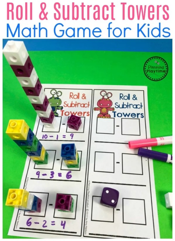 Roll and Subtract Block Towers - Fun Subtraction for Kids.