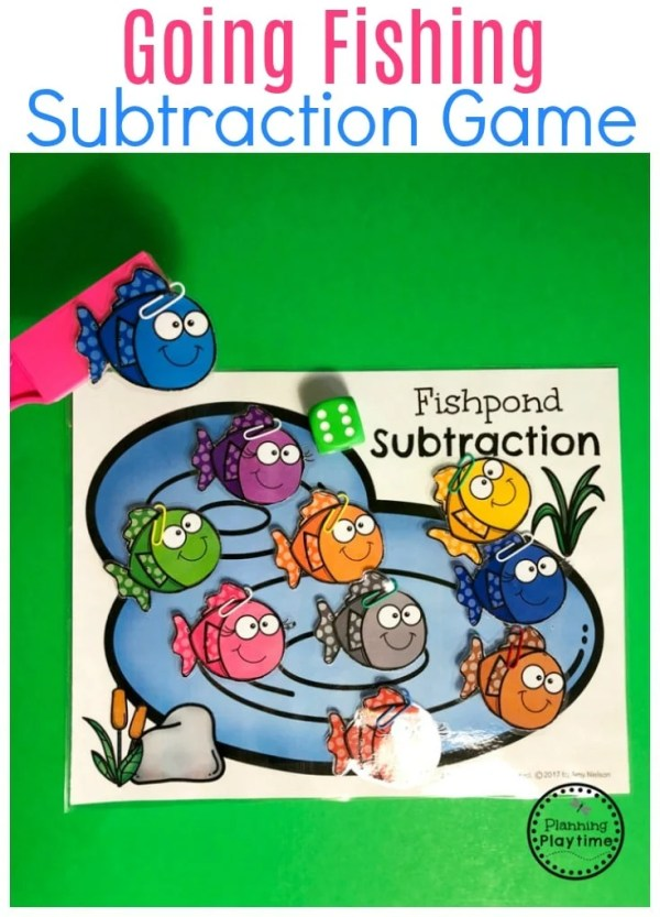 Subtraction Under 10 Game for Kids - Fishing Subtraction