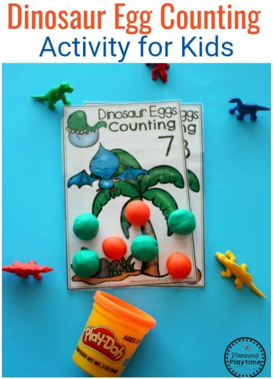 Dinosaur Egg Counting Activity - Fun Preschool Dinosaur Theme #preschool #dinosaurtheme #dinosaur #preschoolactivities #preschoolcounting