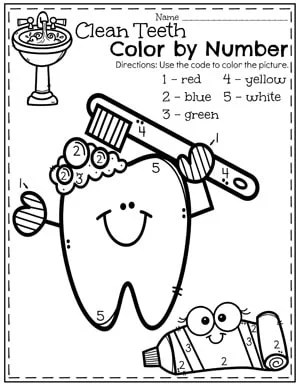 Preschool Dental Health Worksheets - Color By Number Teeth Brushing.