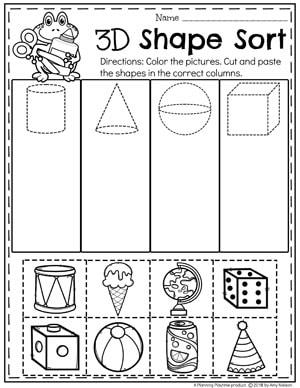 3D Shapes Worksheet for Kindergarten Math #kindergarten #kindergartenmath #shapes #geometry #mathworksheets #shapesworksheets #kindergartenworksheets