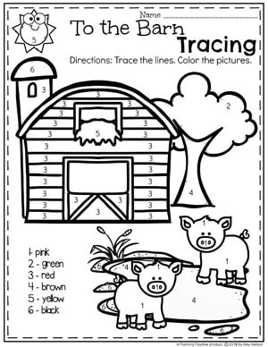 Color by Number Farm Coloring Pages for Preschool #preschool #farmtheme #springpreschool #preschoolworksheets #preschoolfun #springworksheets