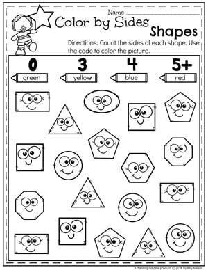 Color by Sides - Kindergarten math Worksheets #kindergarten #kindergartenmath #shapes #geometry #mathworksheets #shapesworksheets #kindergartenworksheets