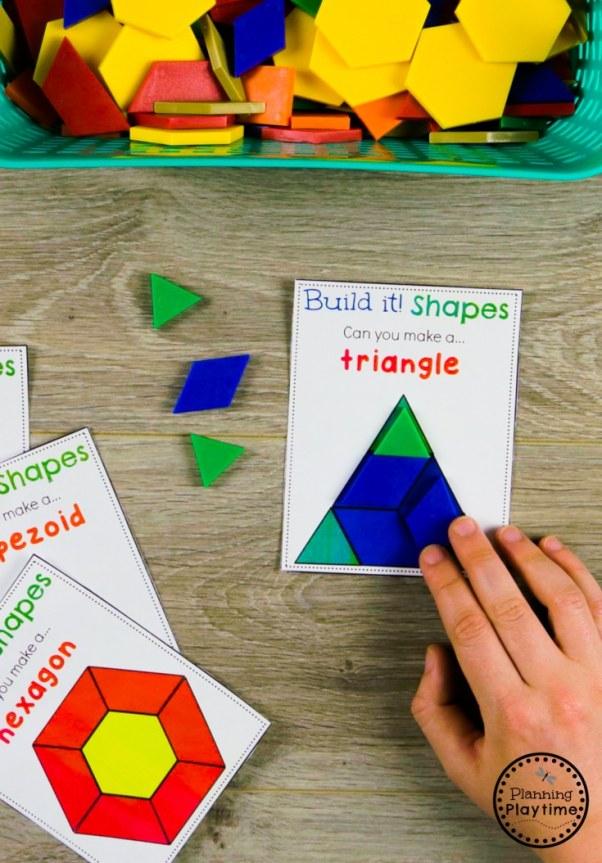 Composing Shapes with shapes for Kindergarten Math #kindergarten #kindergartenmath #shapes #geometry #kindergartenworksheets #mathgames #planningplaytime