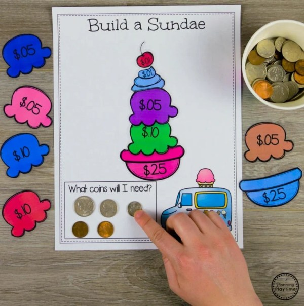 Counting Money Game for Kids - Build a Sundae #kindergartenmath #kindergarten #kindergartencenters #coinrecognition