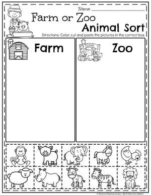 Farm or Zoo Animal Sorting Worksheets - Preschool Farm Theme #preschool #farmtheme #springpreschool #preschoolworksheets #preschoolfun #springworksheets