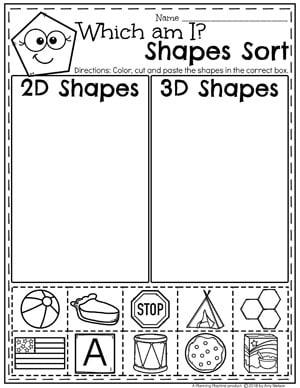 Kindergarten Shapes Worksheets - 2D or 3D shapes sort #kindergarten #kindergartenmath #shapes #geometry #mathworksheets #shapesworksheets #kindergartenworksheets