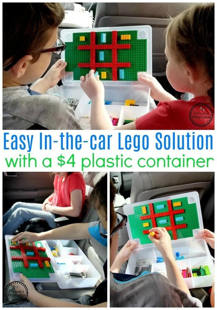 Lego ideas for the car - Storage container turned into a Lego surface with baseplates. #lego #legobaseplates #legomakeover #legoideas #legohacks #ad