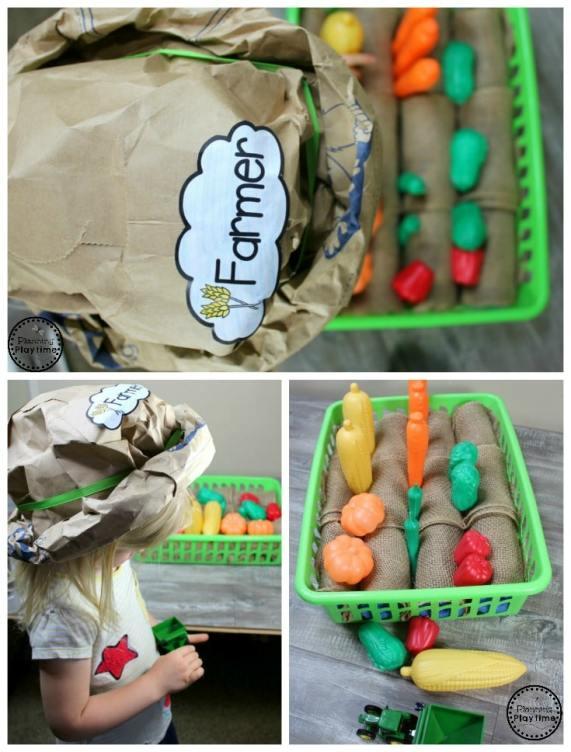 Paper Bag Farmer Hat - Farm Pretend Play for Preschool #preschool #farmtheme #springpreschool #preschoolgames #preschoolfun #preschoolcrafts