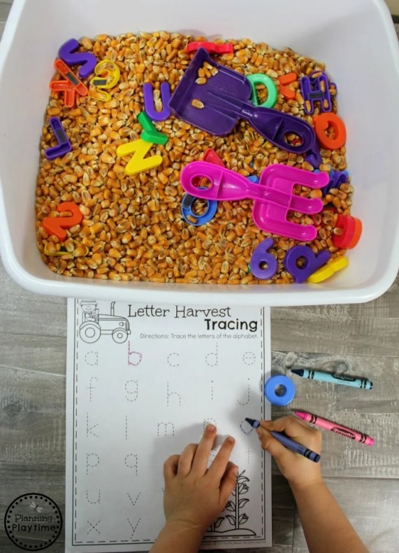 Preschool Letter Sensory Bin for a Farm Theme