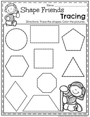 Shapes Tracing Worksheet for Kindergarten #kindergarten #kindergartenmath #shapes #geometry #mathworksheets #shapesworksheets #kindergartenworksheets