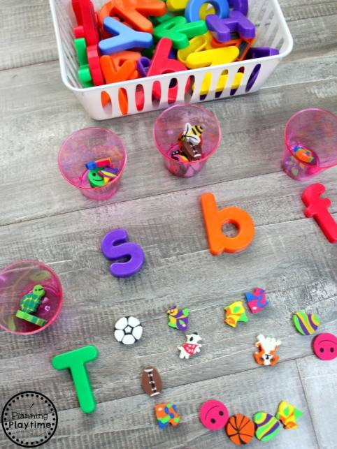 Beginning Sounds with Mini Erasers #preschool #minierasers #kindergarten #funlearning #planningplaytime #beginningsounds