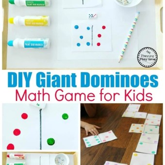 Fun Dominoes Game with DIY Dominoes #dominoes #dominoesgame #mathgame #kindergarten #preschool