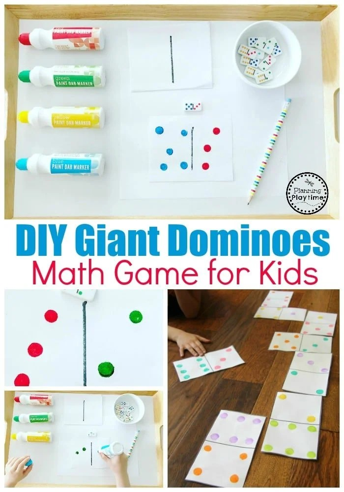 Fun Dominoes Game with DIY Dominoes #dominoes #dominoesgame #mathgame #kindergarten #preschool