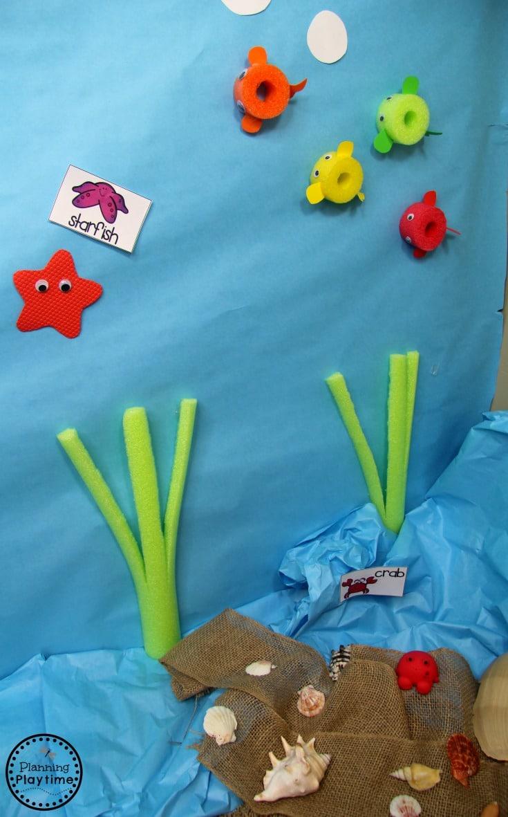 Ocean Dramatic Play for Preschool. So fun! #preschool #dramaticplay #underthesea #oceantheme