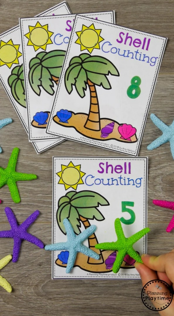 Ocean Preschool Theme - Shell Counting Activities #counting #preschool #oceantheme #preschoolactivities #preschoolcenters #planningplaytime