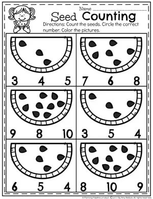 Preschool Counting Worksheets for Summer #preschool #summerpreschool #preschoolprintables #preschoolworksheets #planningplaytime #counting