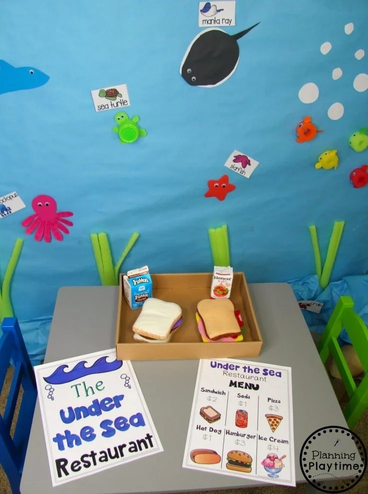 Preschool Dramatic Play for an Ocean Theme - Under the Sea Restaurant #preschool #dramaticplay #underthesea #oceantheme