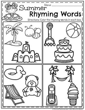 Preschool Summer Worksheets - Water Fun Tracing Worksheets #preschool #summerpreschool #preschoolprintables #preschoolworksheets #planningplaytime #rhymingwords