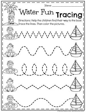 Preschool Summer Worksheets - Water Fun Tracing Worksheets #preschool #summerpreschool #preschoolprintables #preschoolworksheets #planningplaytime #tracingworksheets