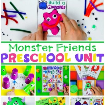 Monster Theme for Preschool - Math and Literacy Centers #monsters #preschoolthemes #monstertheme #planningplaytime