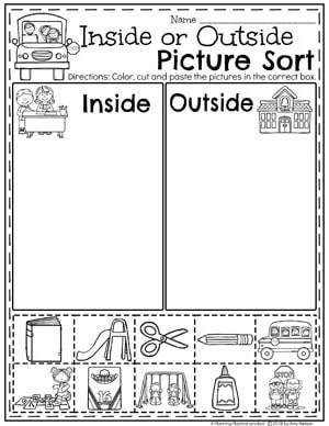 Two large boxes with word inside and outside. Cut and paste boxes with pictures of things to do inside or outside.