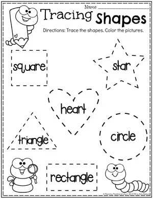 preschool worksheet: shape outlines with shape word inside. Worm with pencil to color.