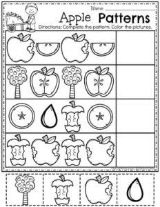 Preschool Apple Worksheets - Apple Patterns #preschool #preschoolworksheets #appletheme #appleworksheets #planningplaytime #patterns